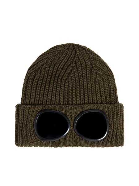 Extra Fine Merino Wool Goggle Beanie in Dusty Olive