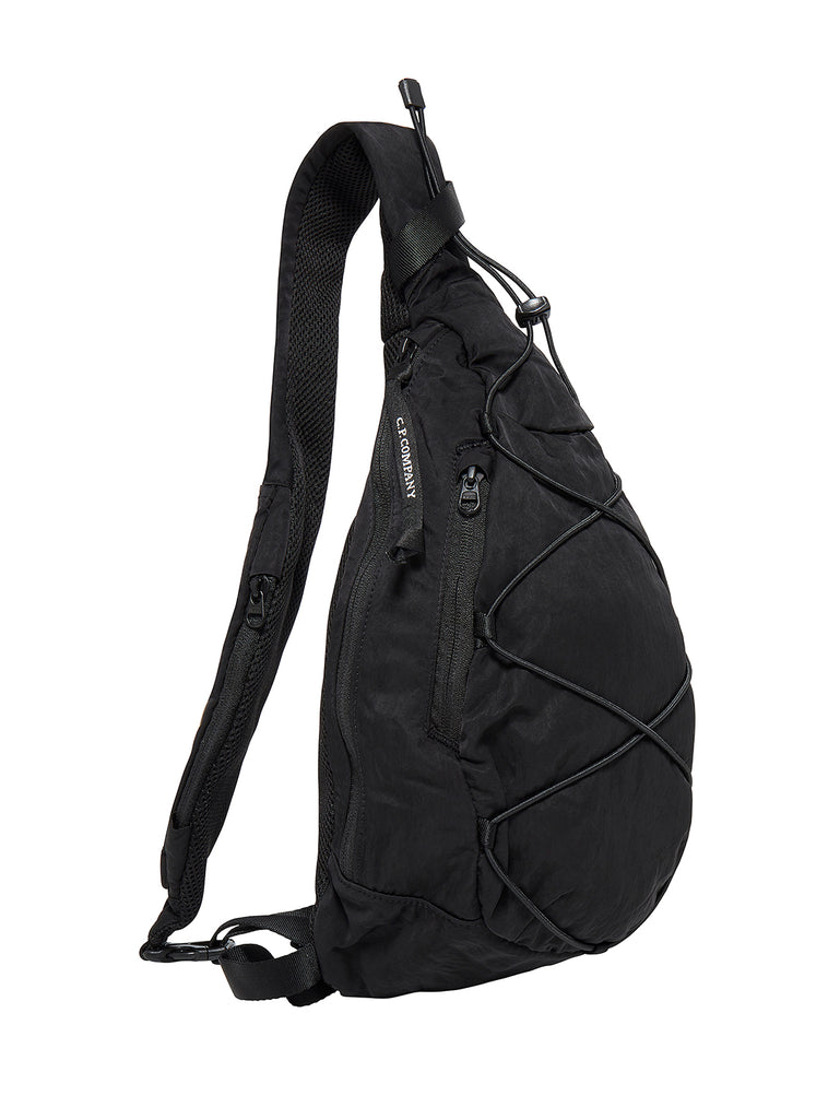 Garment Dyed Nylon Sateen Lens Shoulder Bag in Black