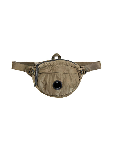 Garment Dyed Nylon Sateen Lens Waist Bag in Dusty Olive