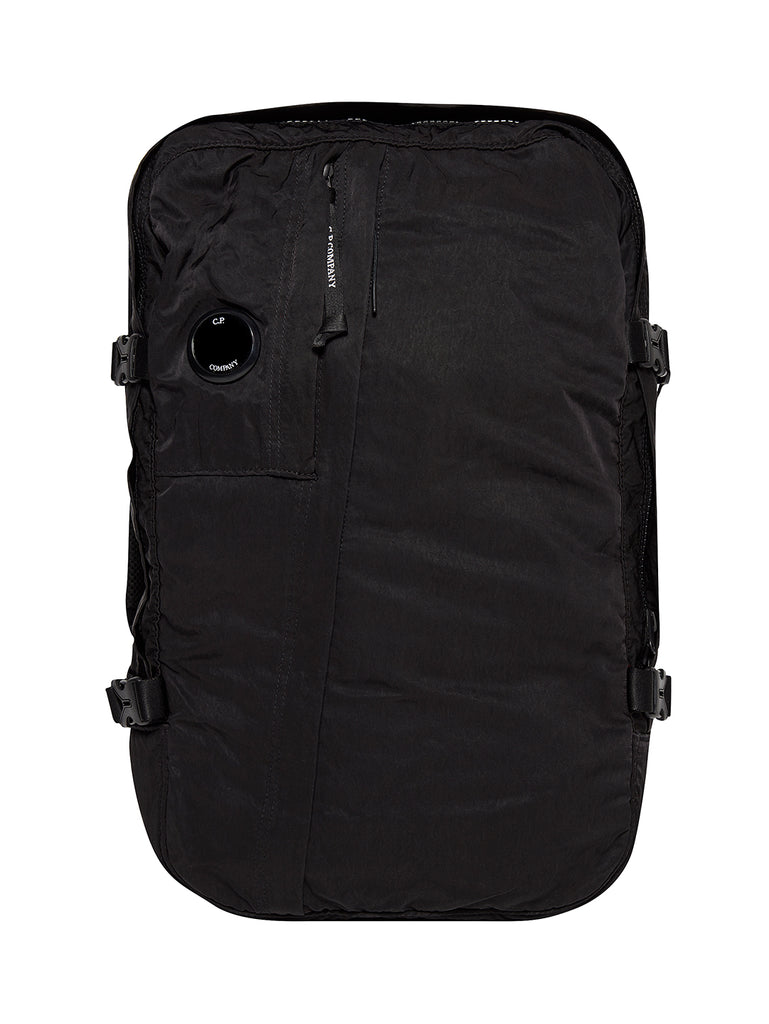 Garment Dyed Nylon Sateen Backpack in Black