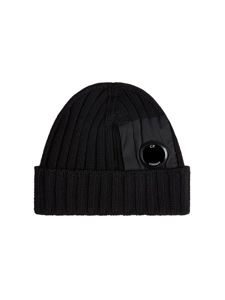 Merino Wool Lens Beanie in Black