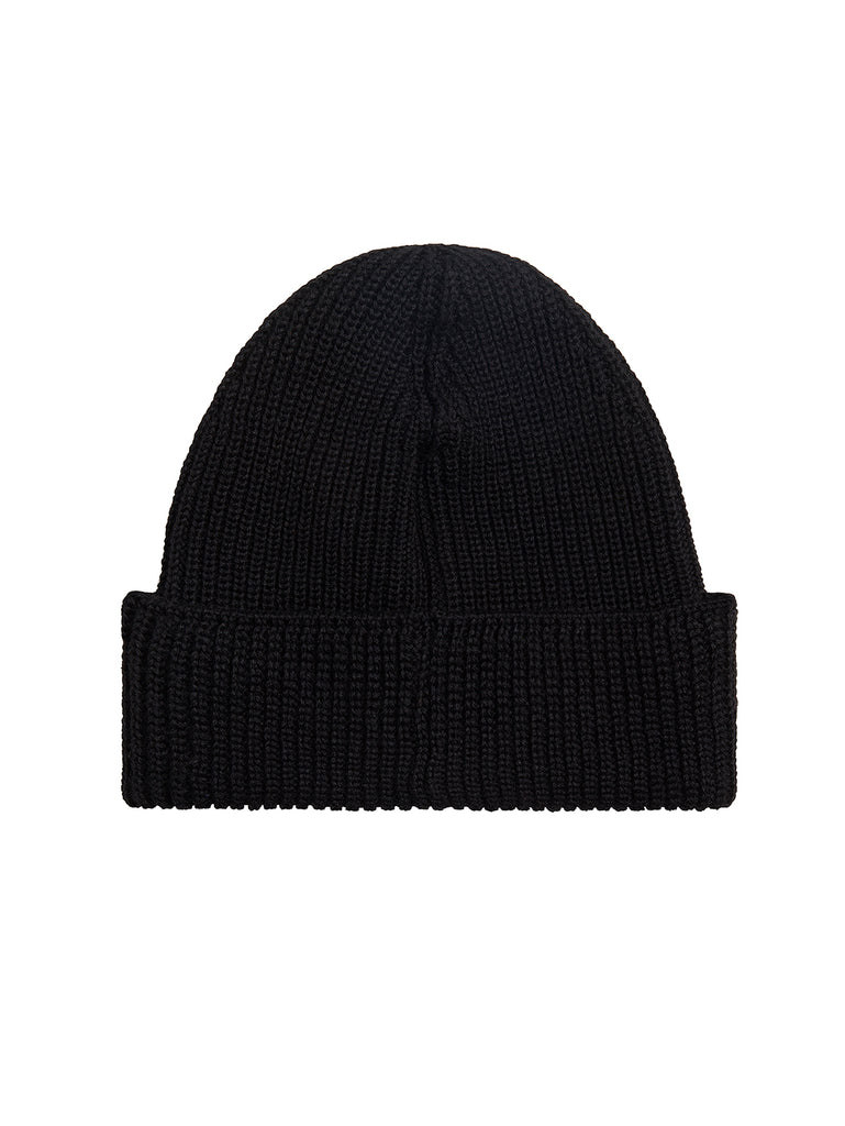 Merino Wool Logo Badge Beanie in Black