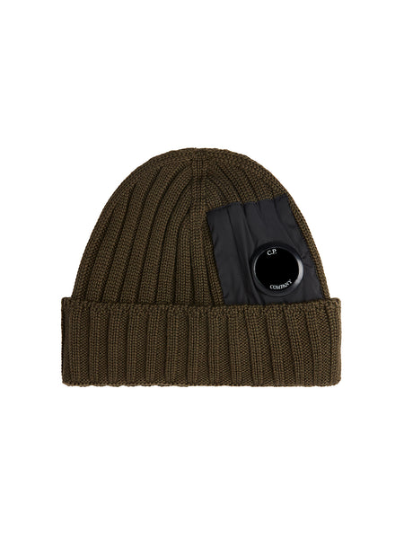 Merino Wool Lens Beanie in Dusty Olive
