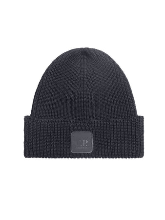Merino Wool Logo Badge Beanie in Dark Fog Grey