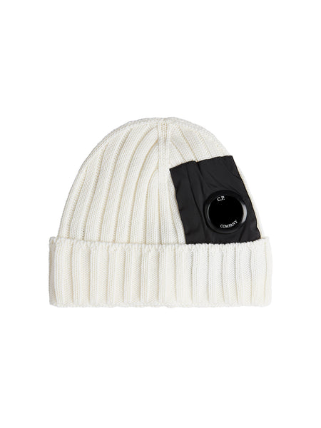 Merino Wool Lens Beanie in Gauze White