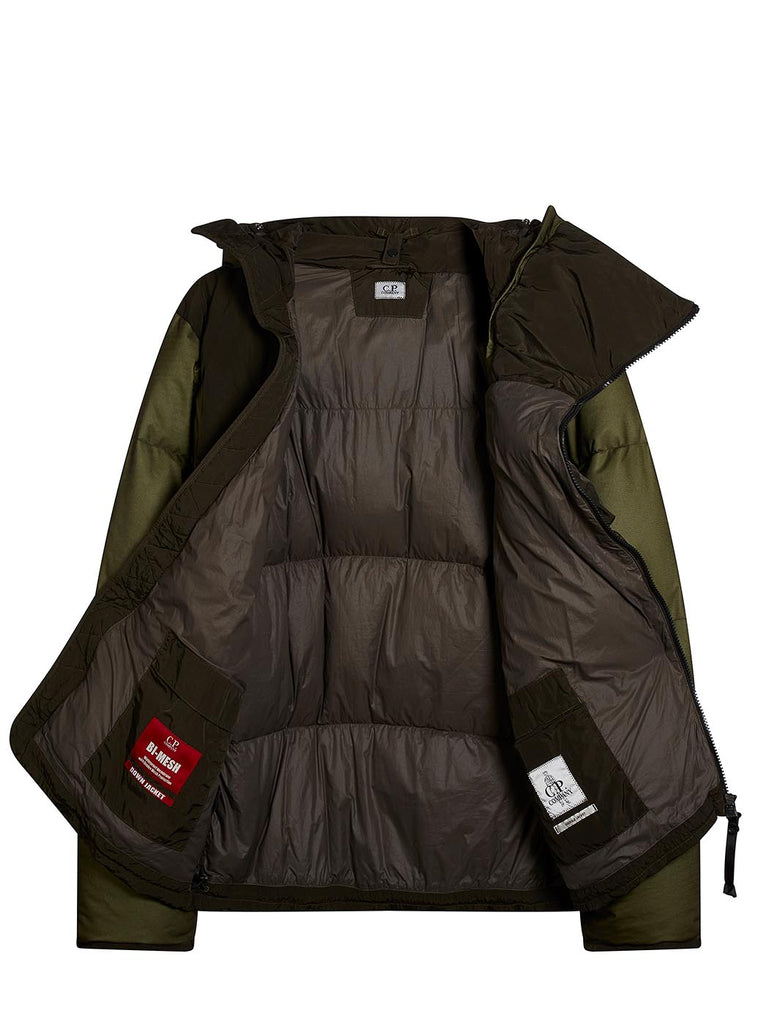 Bi-Mesh Goggle Hood Down Jacket in Sage