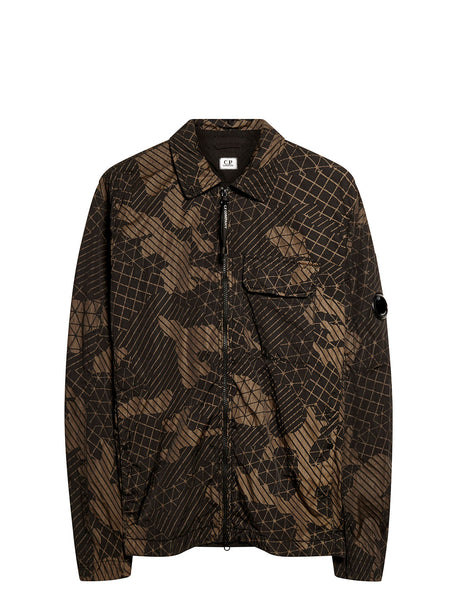 Camo Net Lens Sleeve Overshirt in Black