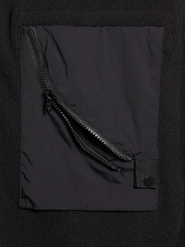 Cotton Mixed Zip Pocket Jumper in Black