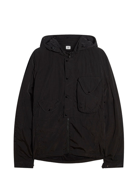 Chrome Hooded Overshirt in Black