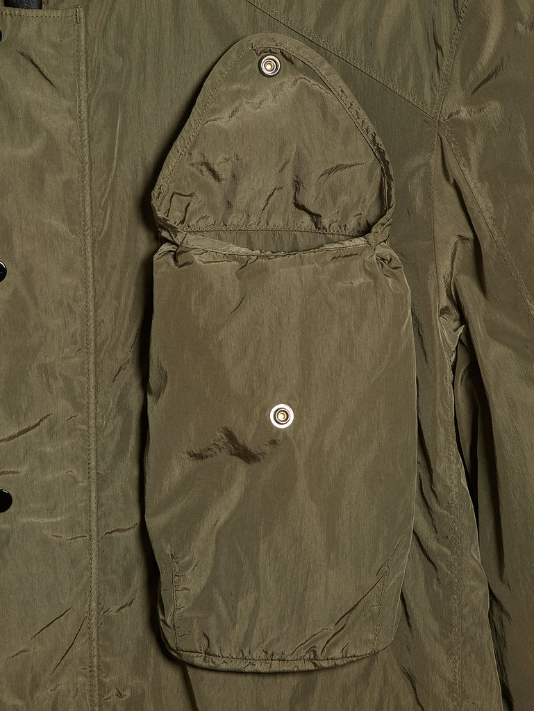 Chrome Hooded Overshirt in Dusty Olive