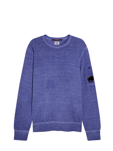 Cotton Crêpe Lens Sleeve Jumper in Faded Denim