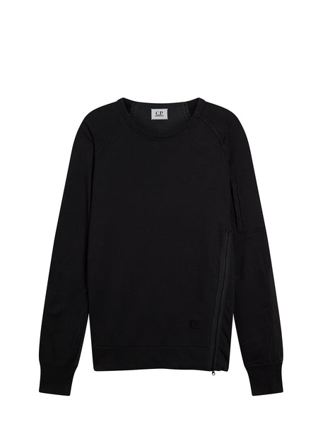 Cotton Fleece Crew Sweatshirt in Black