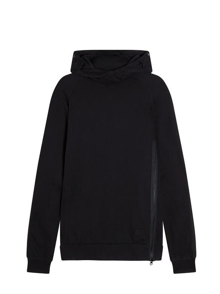 Cotton Fleece Goggle Hoodie Sweatshirt in Black