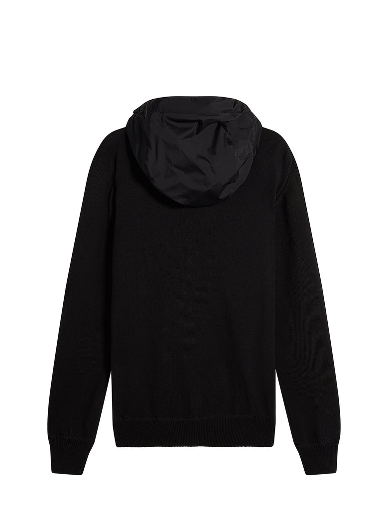 Cotton Knit Mixed Hoodie in Black