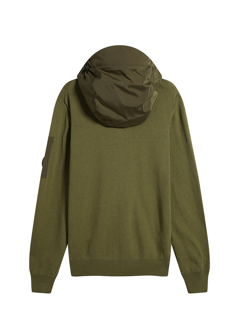 Cotton Mixed Hooded Lens Sweater in Beech