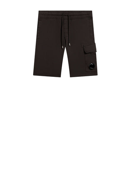 Garment Dyed Light Fleece Lens Pocket Sweatshort in Black