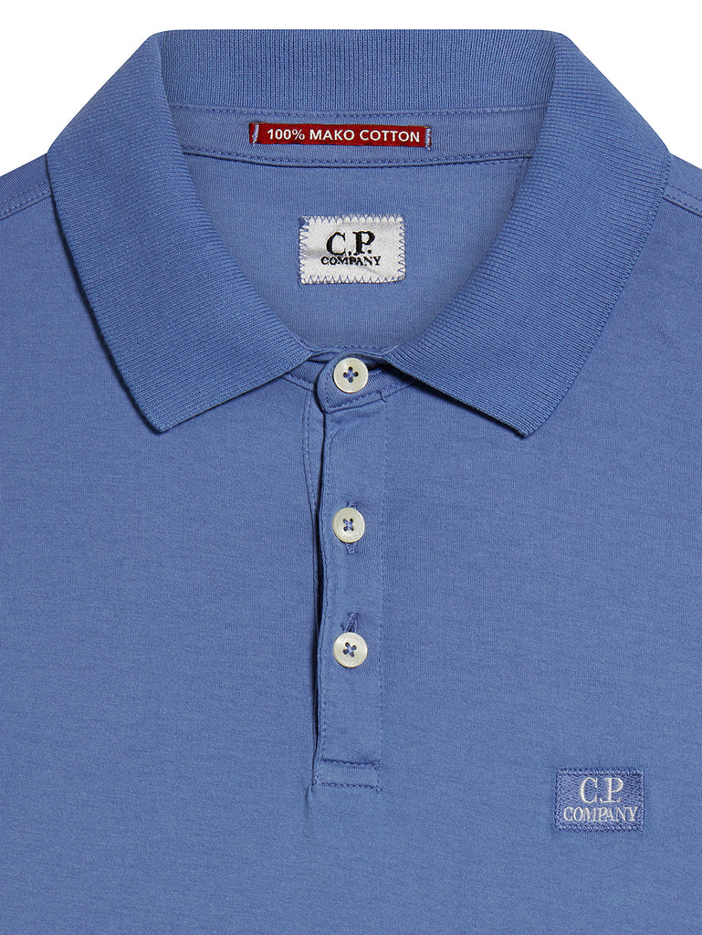 Garment Dyed Makò Jersey Polo Shirt in Dutch Blue