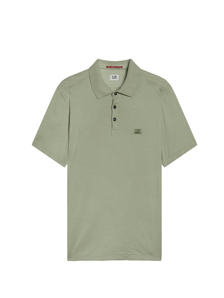 Garment Dyed Makò Jersey Polo Shirt in Green