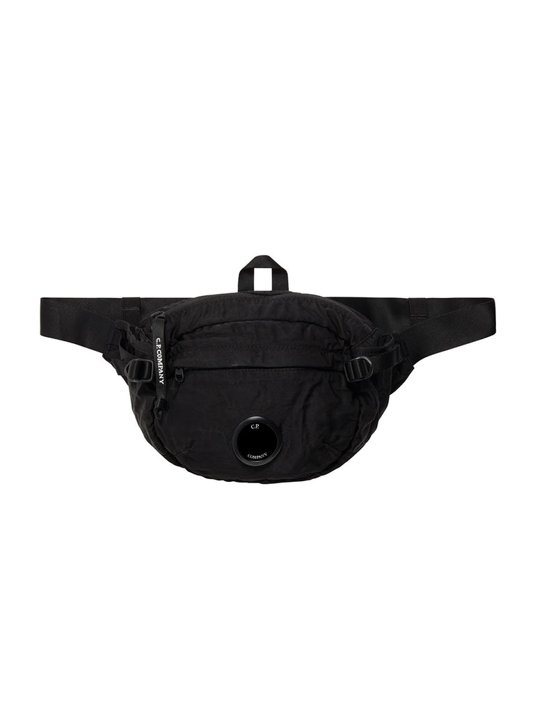 Garment Dyed Nylon Sateen Lens Waist Bag in Black