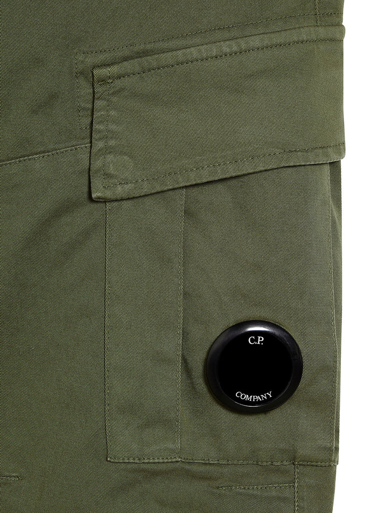 Garment Dyed Stretch Gabardine Cargo Lens Trouser in Beech