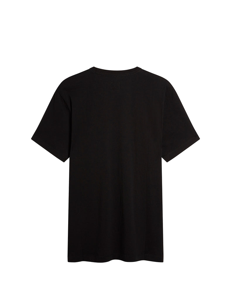 Jersey 30/1 Label Print T-Shirt in Black