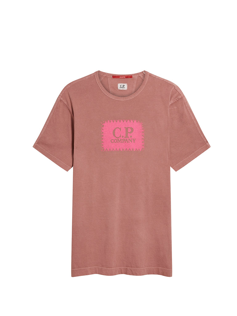 Jersey 30/1 Label Print T-Shirt in Roan Rouge
