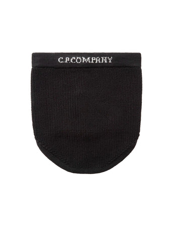 Merino Wool Jacquard Engineered Logo Snood in Black