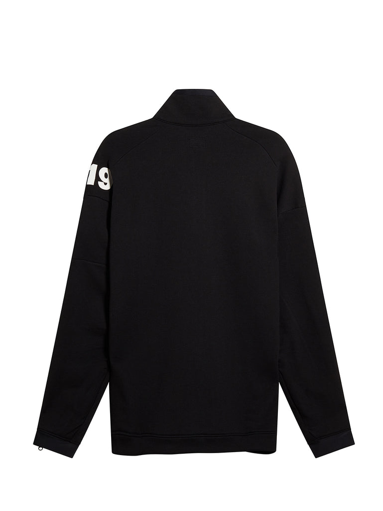 Diagonal Fleece Quarter Zip Sweater in Black