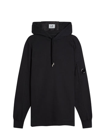 Garment Dyed Light Fleece Hooded Sweatshirt in Black