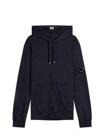 Garment Dyed Light Fleece Hooded Zip Sweatshirt in Total Eclipse