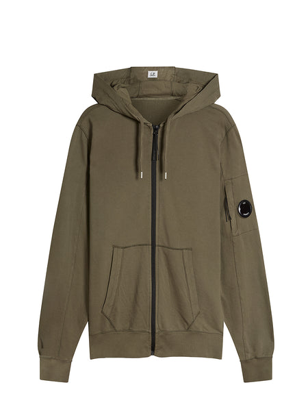 Garment Dyed Light Fleece Hooded Zip Sweatshirt in Dusty Olive