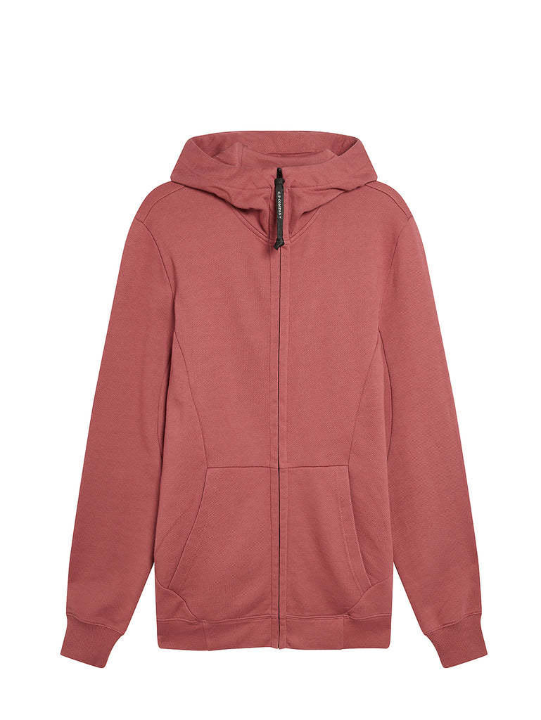 Diagonal Raised Fleece Goggle Full Zip Hoodie in Roan Rouge