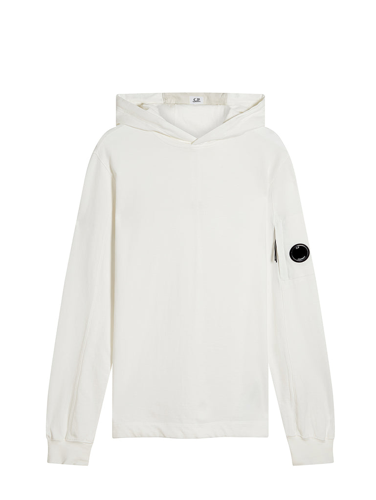 Garment Dyed Light Fleece Hooded Sweatshirt in Gauze White