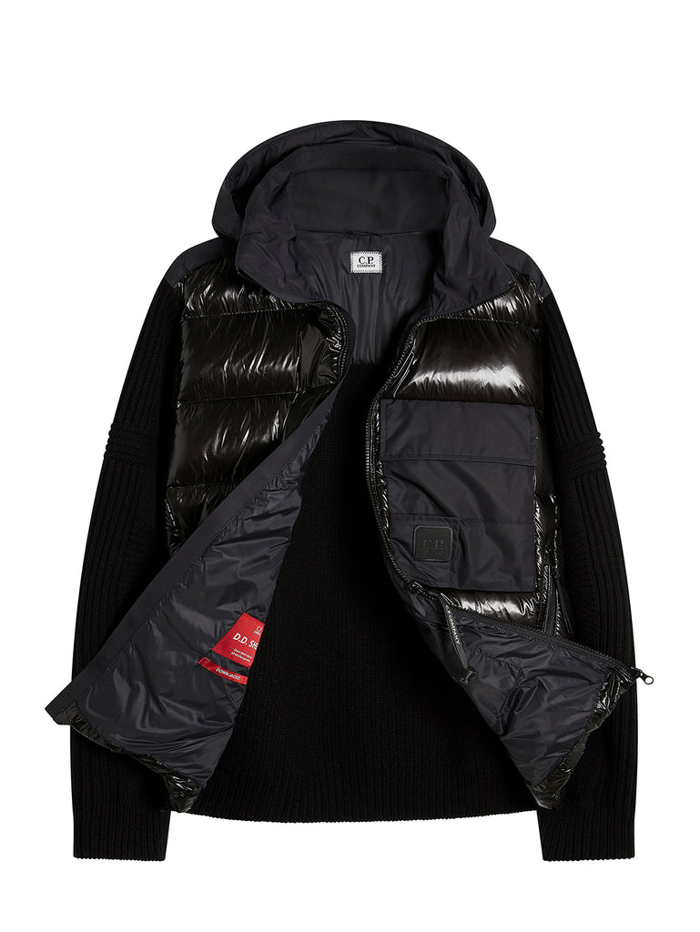 Knit Nylon Mixed Jacket in Black