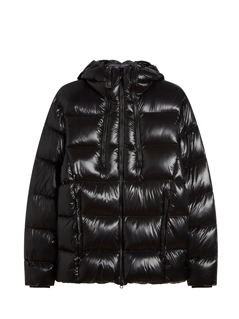 Outline Goggle Puffer Jacket in Black