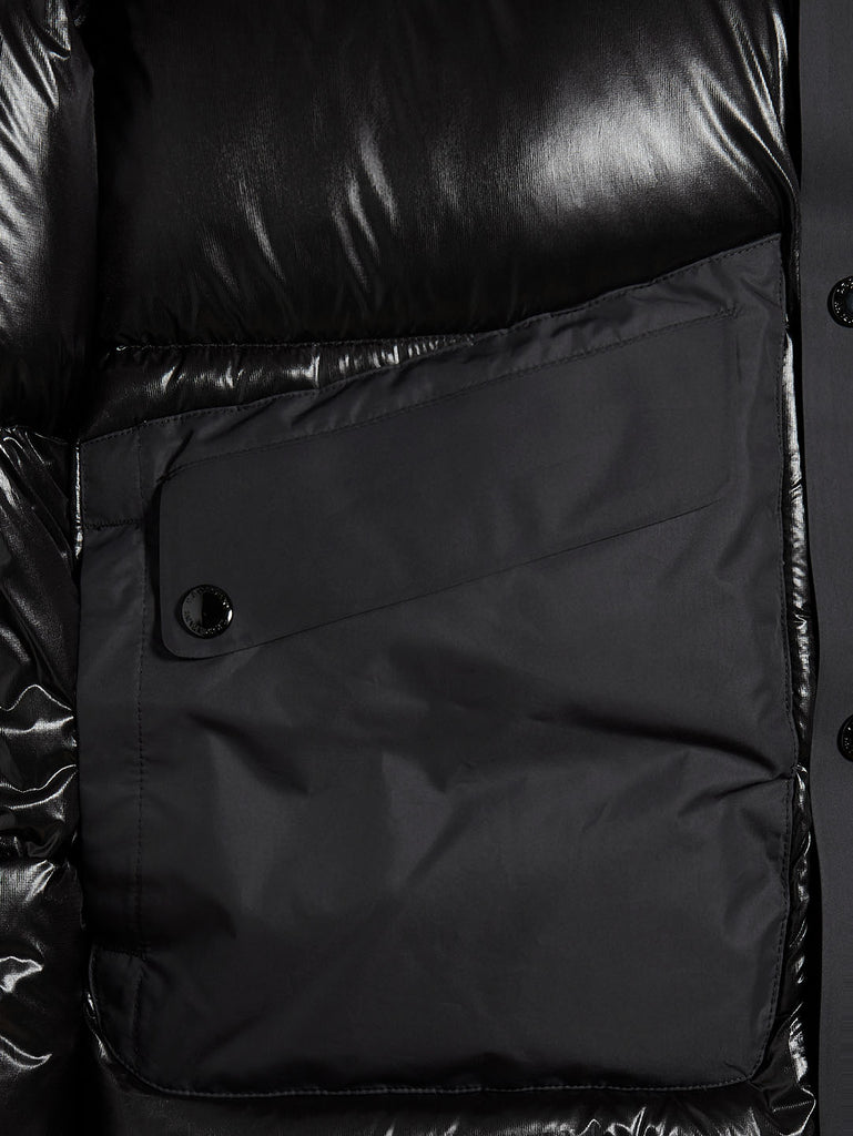 D.D. Shell Mixed Panel Puffer Jacket in Black