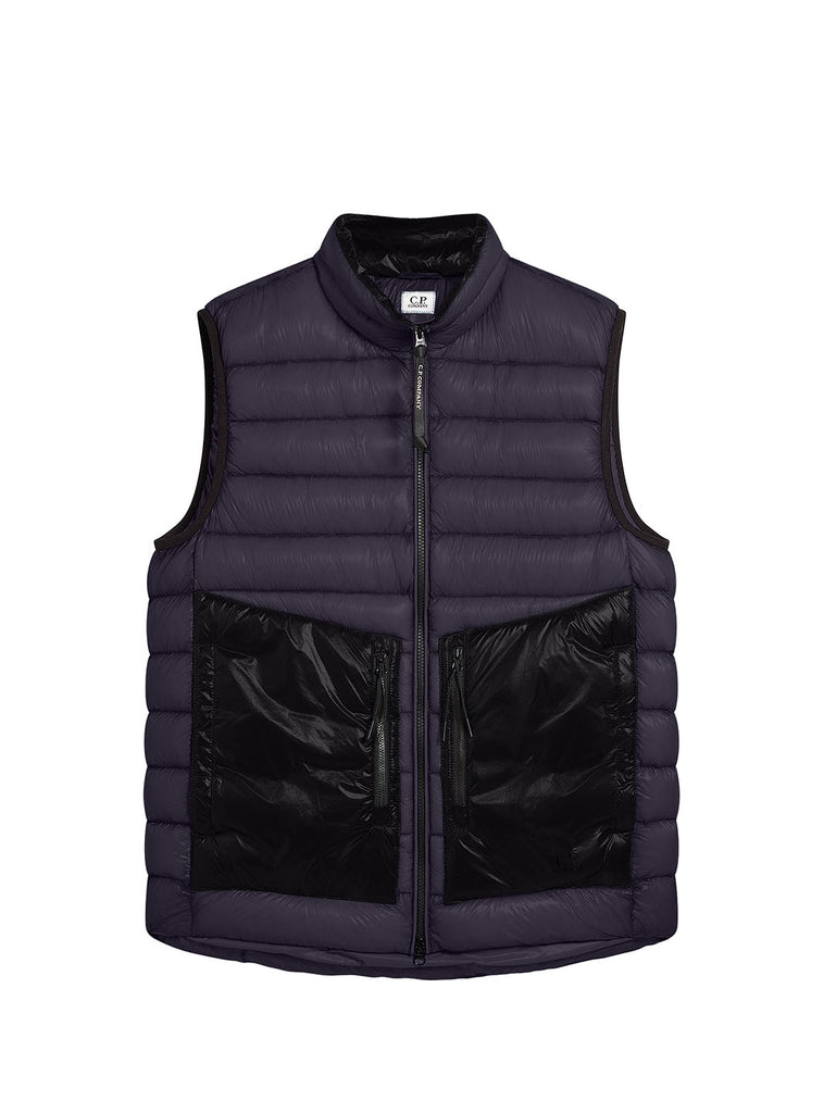 DD Shell Padded Stand Collar Utility Vest in Ombre Blue