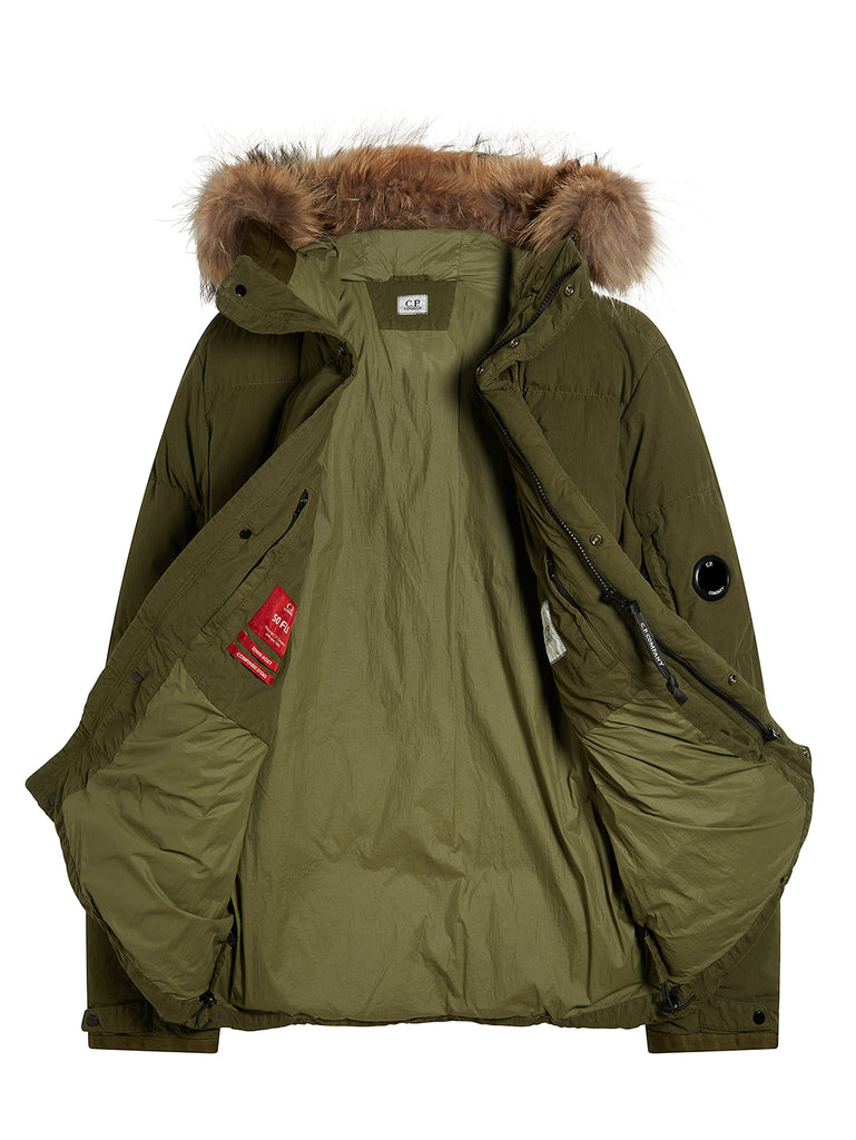 50 Fili Trim Hood Mid Parka in Olive Night