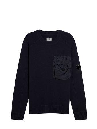 Lambswool Mixed Chrome Pocket Crew Sweat in Total Eclipse