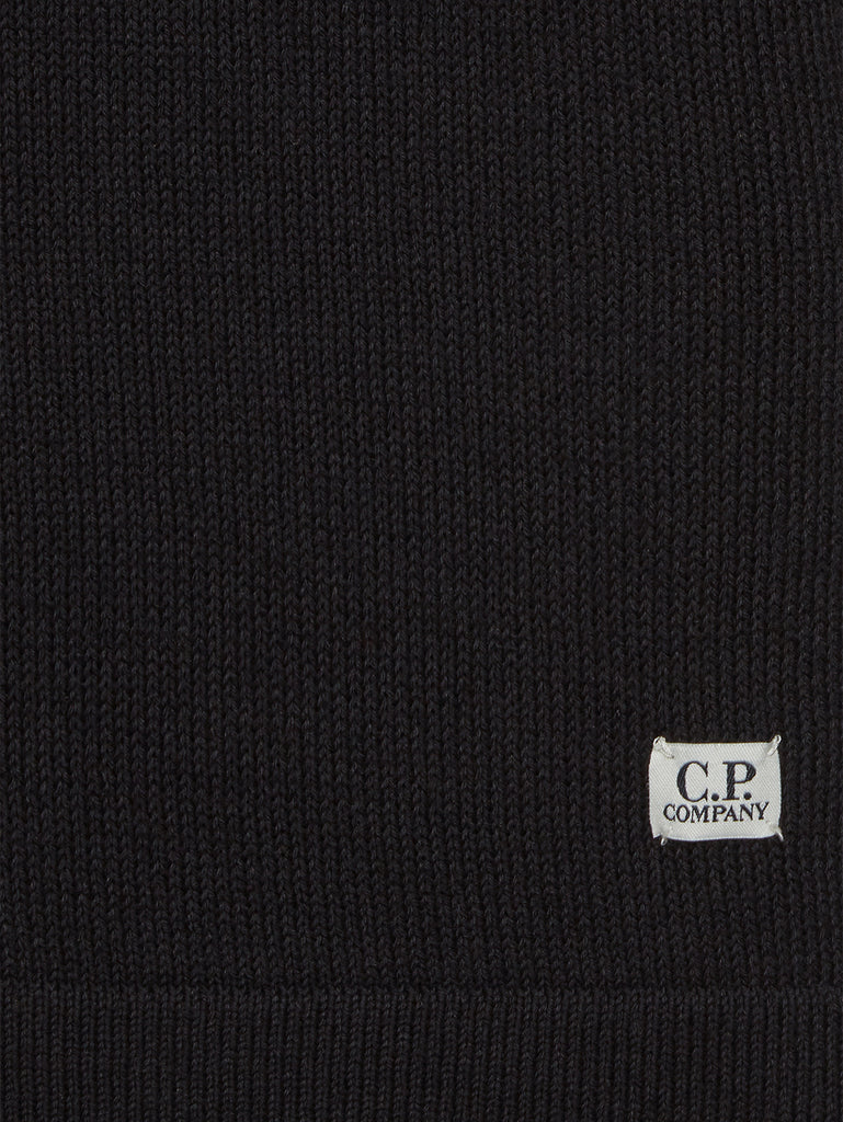 Cotton Mixed Crew Neck Knit in Black