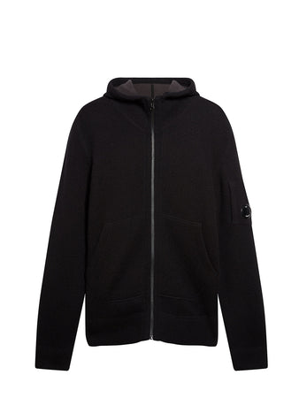 Lambswool Double Fibre Mixed Lens Hoodie in Black