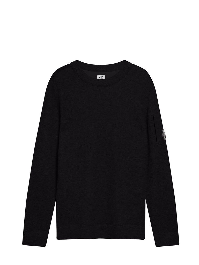 Lambswool Double Fibre Mixed Lens Sweater in Black