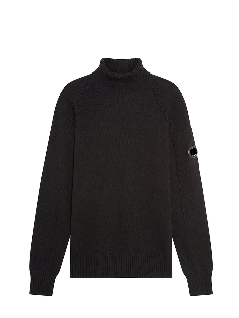 Lambswool Lens Roll Neck Sweater in Black