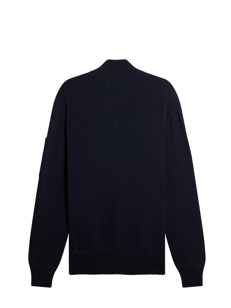 Cotton Mixed Zip Pocket Jumper in Total Eclipse