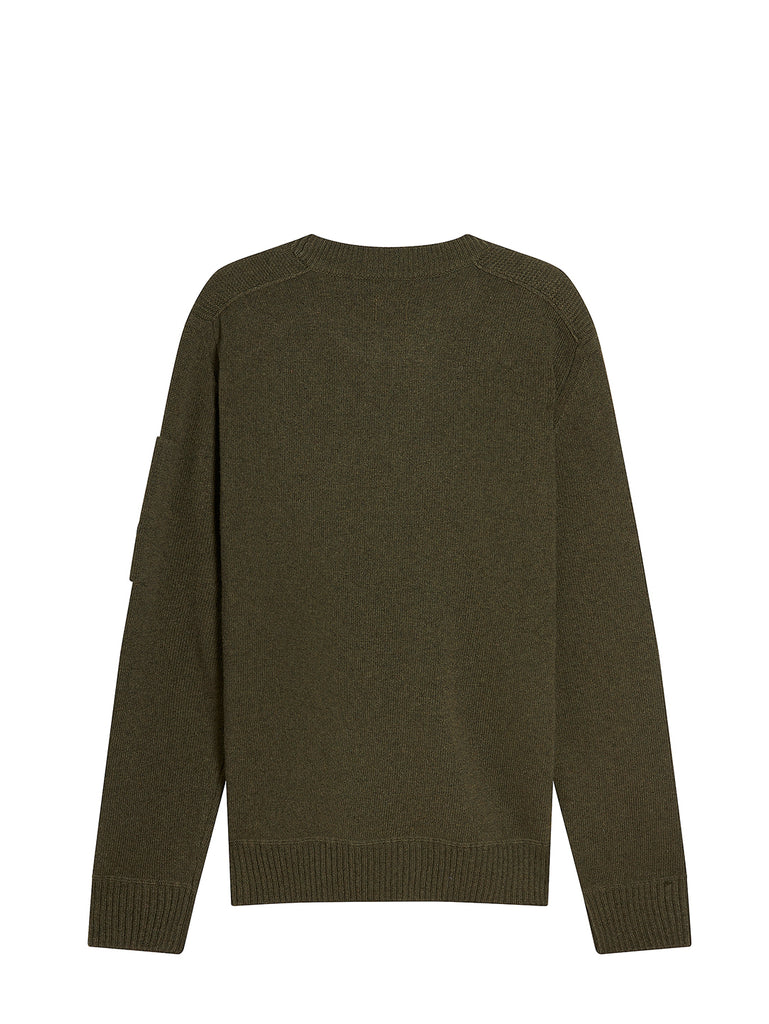 Lambswool Mixed Chrome Pocket Crew Sweat in Dusty Olive