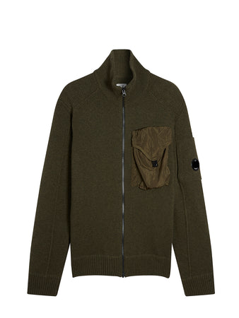 Lambswool Mixed Zip Front Chrome Pocket Sweater in Dusty Olive