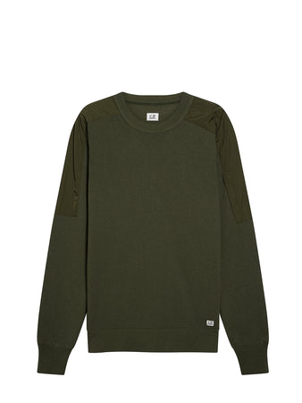 Cotton Mixed Crew Neck Knit in Forest Night
