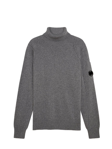 Lambswool Lens Roll Neck Sweater in Tarmac Gray