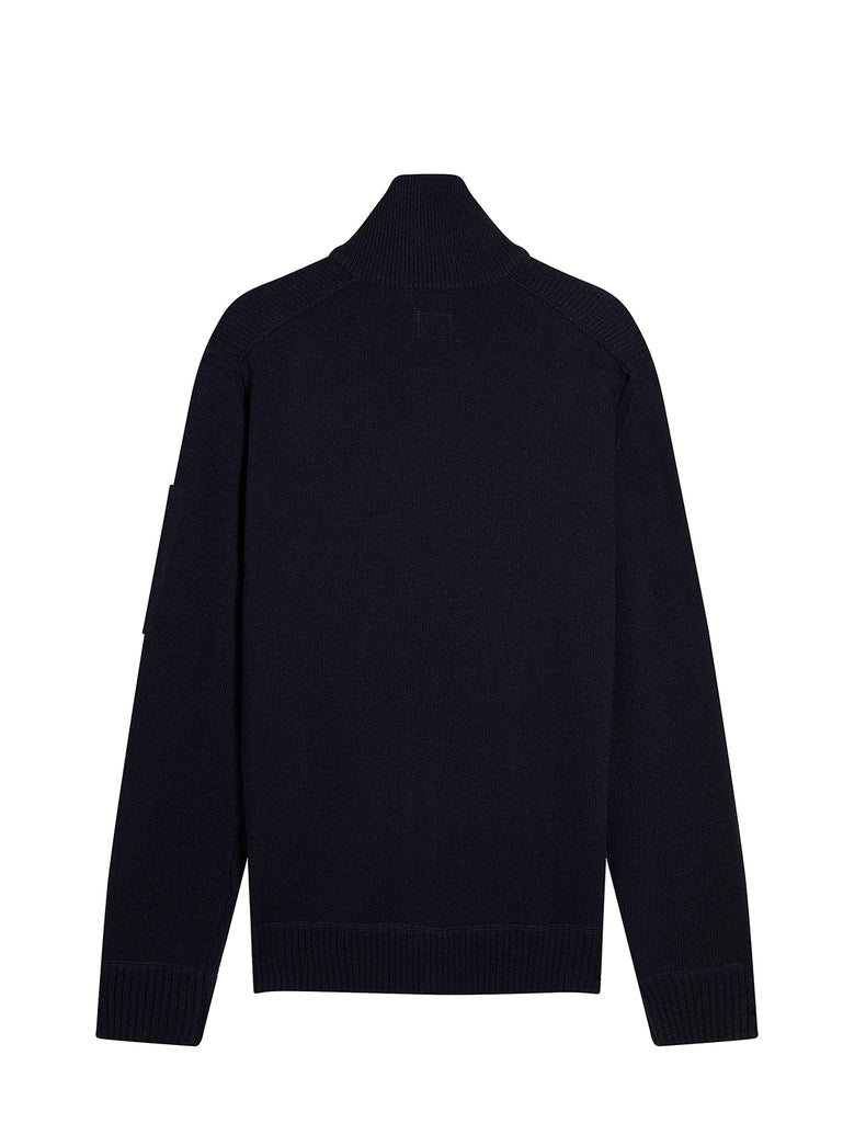 Lambswool Mixed Zip Front Chrome Pocket Sweater in Total Eclipse