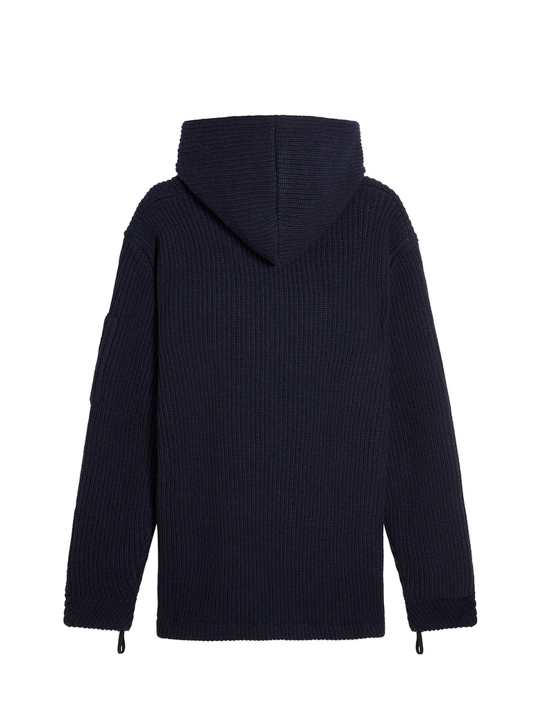 Lambswool Double Ribbed Hooded Sweater in Total Eclipse